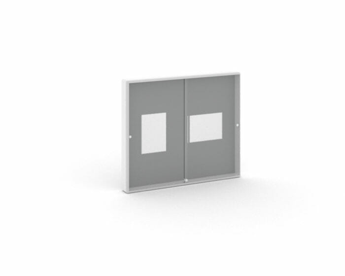 Sliding glass door notice board with optional lockable glass doors
