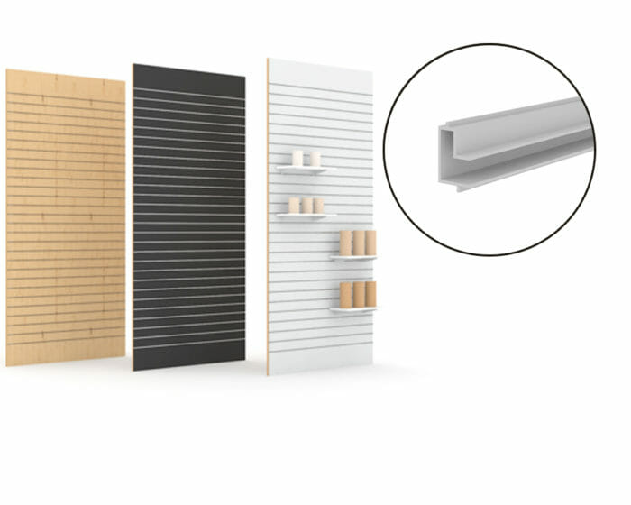 Slatwall (plankwall) adaptable retail shelving for retail shop displays.