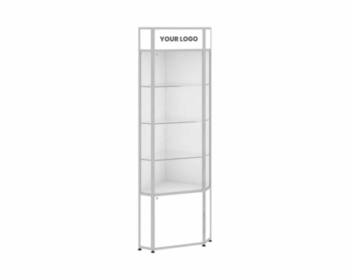 Retail corner cabinet with storage and LED signage