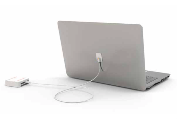 Secure laptop display cable for electronics retailers.