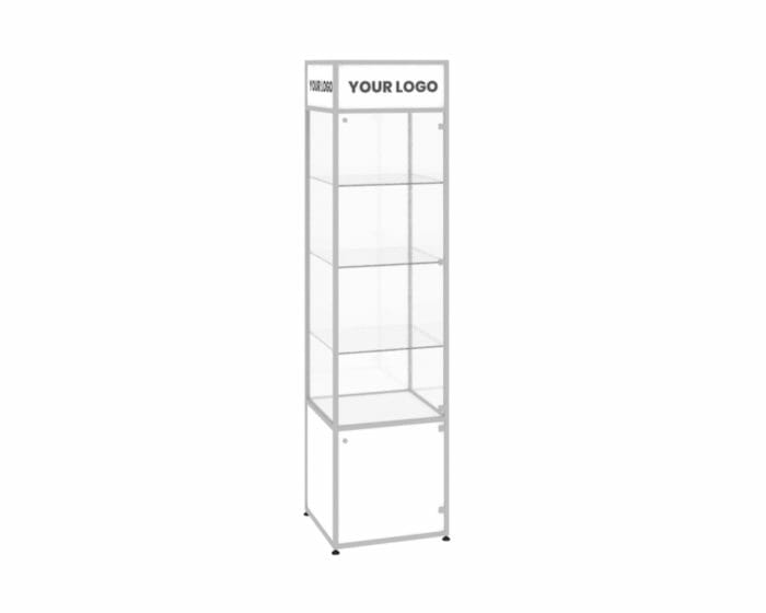 Slimline retail glass tower showcase with aluminium frame