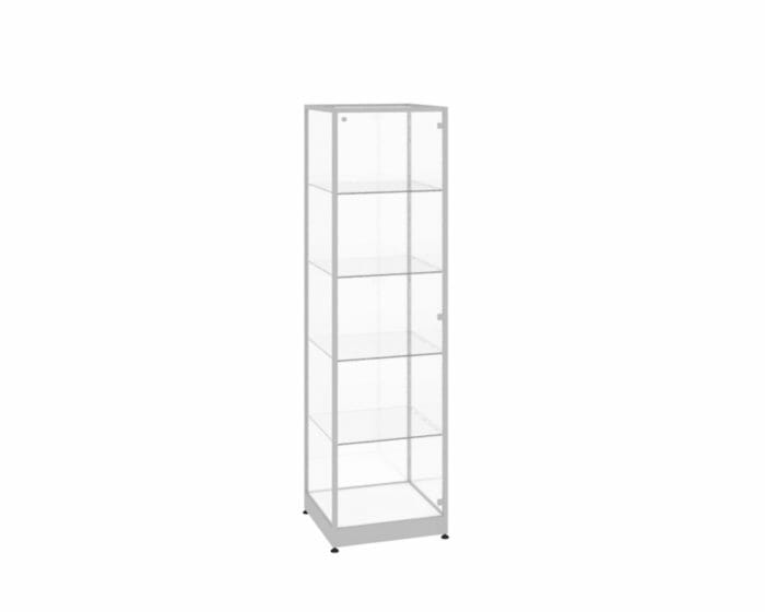 Shop display case with shelves and lockable glass door options