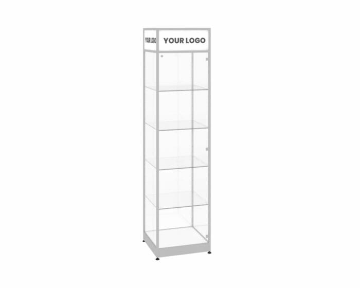 Shop showcase with shelving and lockable glass door options