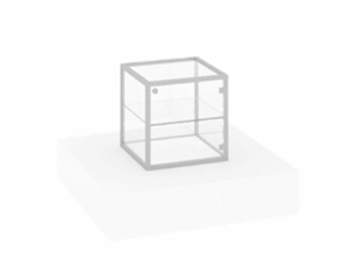 Slimline cube showcase. Lockable cabinet options available.