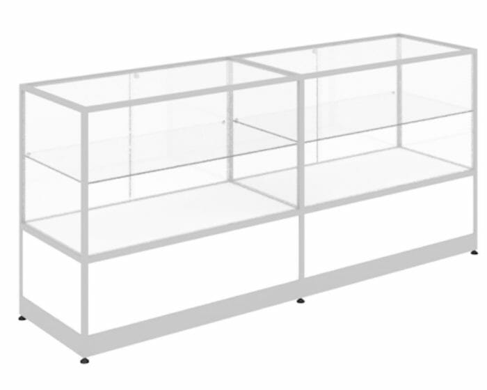 Secure glass shop counter with storage