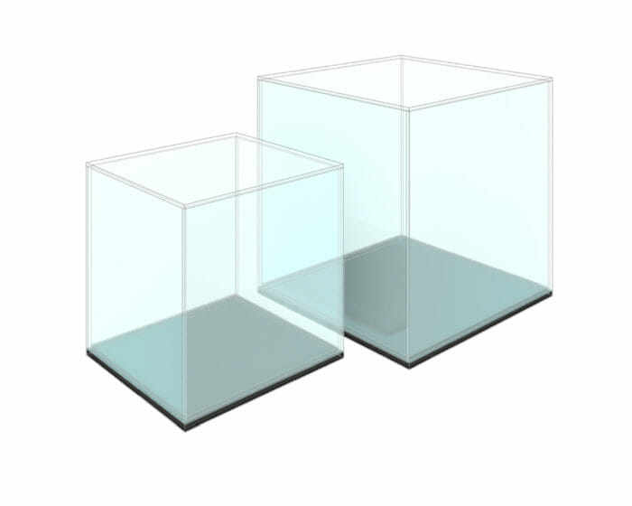 Cube shaped perspex (acrylic) display case with lid