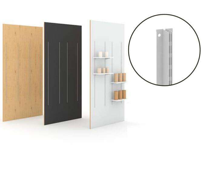 Adaptable modular retail shelving wall for wall displays