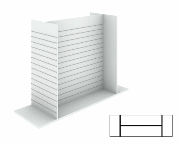 Free standing shelving with slatwall.
