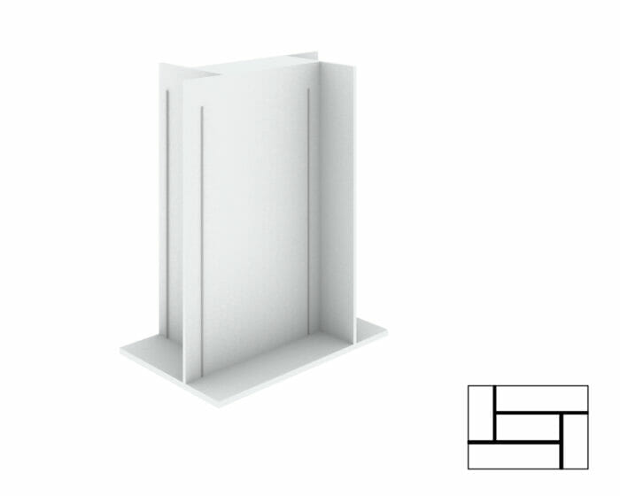 Shop display stand with adjustable shelving.